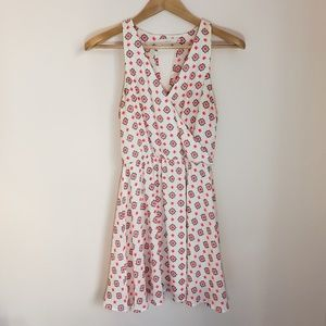 Lush Patterned Sleeveless V-Neck Dress